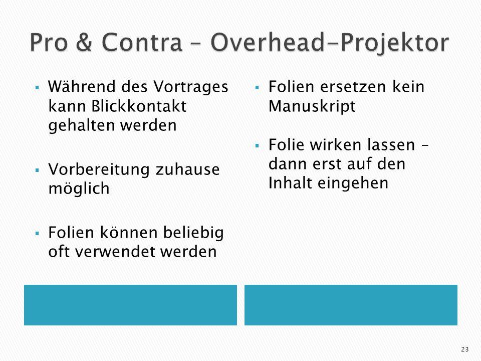Pro & Contra – Overhead-Projektor