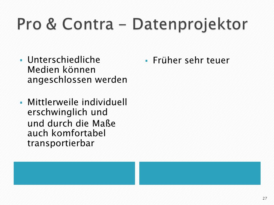 Pro & Contra - Datenprojektor