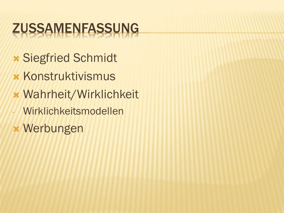 Zussamenfassung Siegfried Schmidt Konstruktivismus