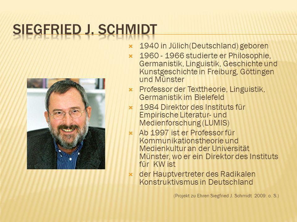 Siegfried J. Schmidt 1940 in Jülich(Deutschland) geboren