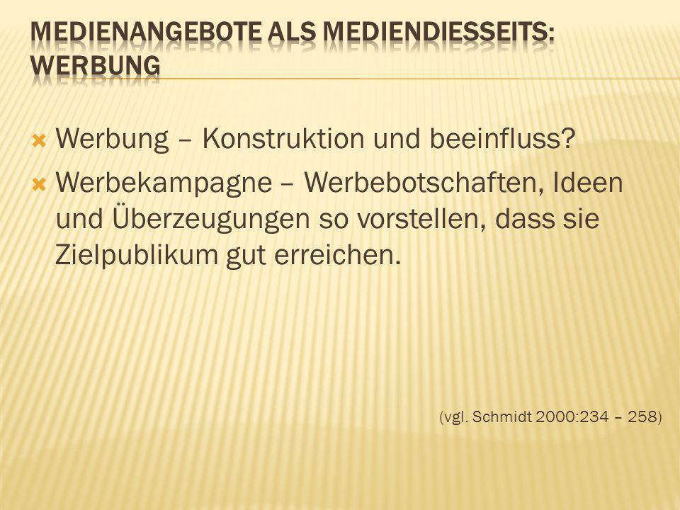 Medienangebote alS Mediendiesseits: Werbung