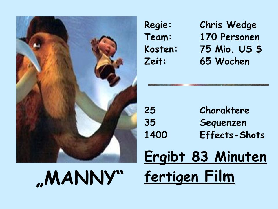 """MANNY Ergibt 83 Minuten fertigen Film Regie: Chris Wedge"