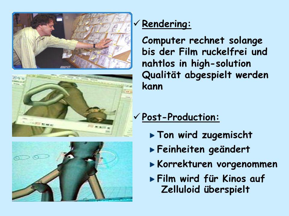 Rendering: Computer rechnet solange bis der Film ruckelfrei und nahtlos in high-solution Qualität abgespielt werden kann.