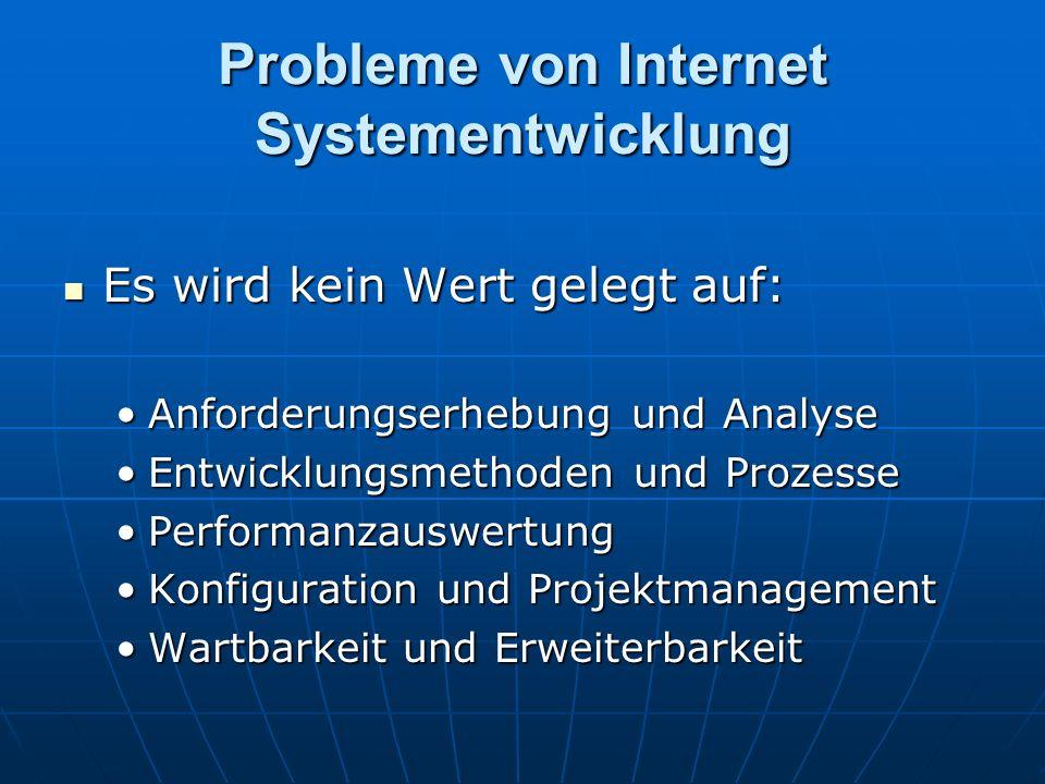Probleme von Internet Systementwicklung