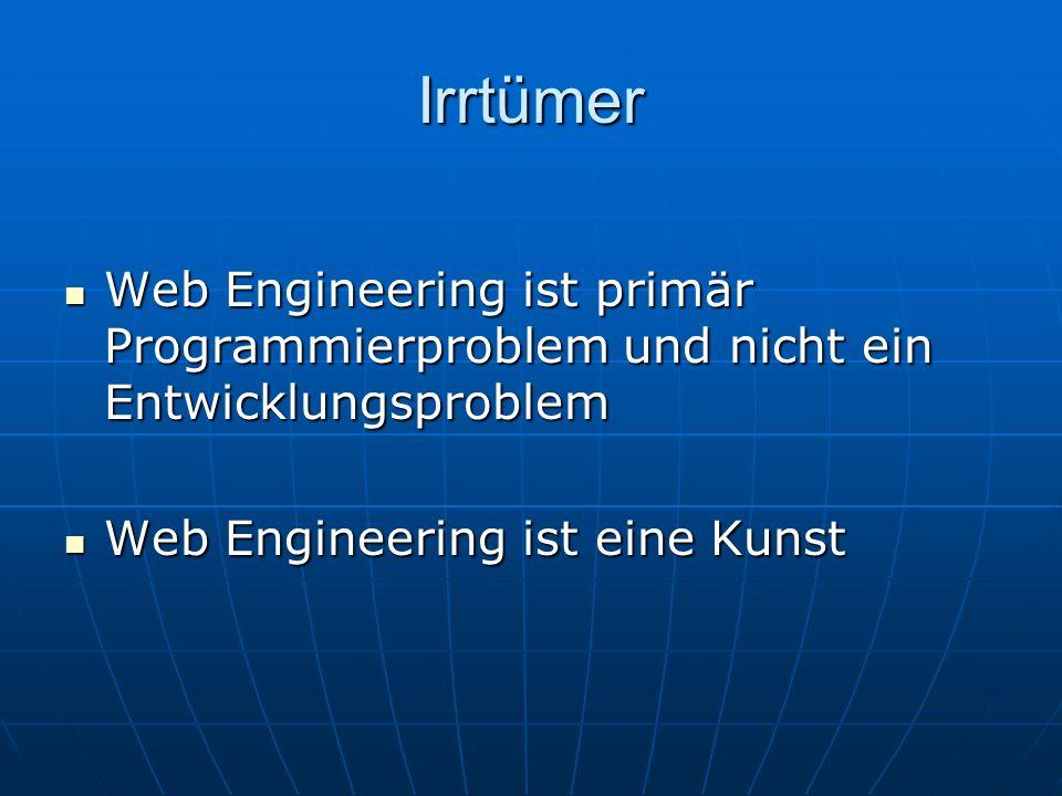 Irrtümer Web Engineering ist primär Programmierproblem und nicht ein Entwicklungsproblem.
