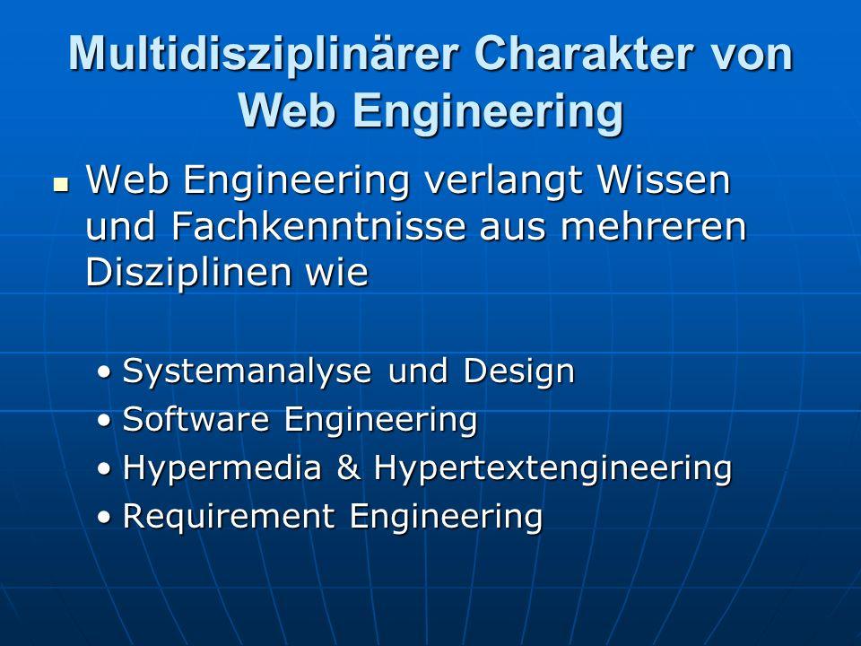 Multidisziplinärer Charakter von Web Engineering