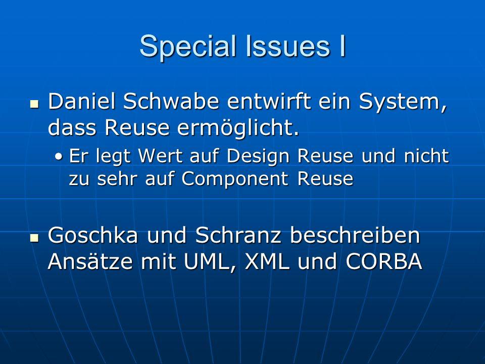 Special Issues I Daniel Schwabe entwirft ein System, dass Reuse ermöglicht. Er legt Wert auf Design Reuse und nicht zu sehr auf Component Reuse.