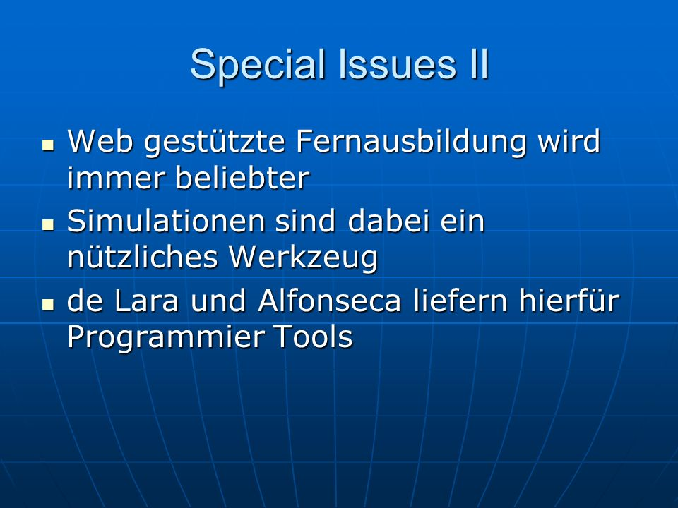 Special Issues II Web gestützte Fernausbildung wird immer beliebter