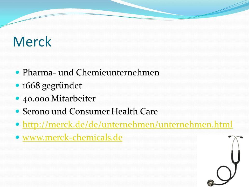 Merck Pharma- und Chemieunternehmen 1668 gegründet 40.000 Mitarbeiter