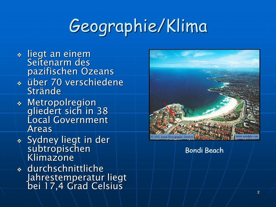 Geographie/Klima liegt an einem Seitenarm des pazifischen Ozeans