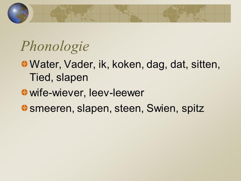 Phonologie Water, Vader, ik, koken, dag, dat, sitten, Tied, slapen