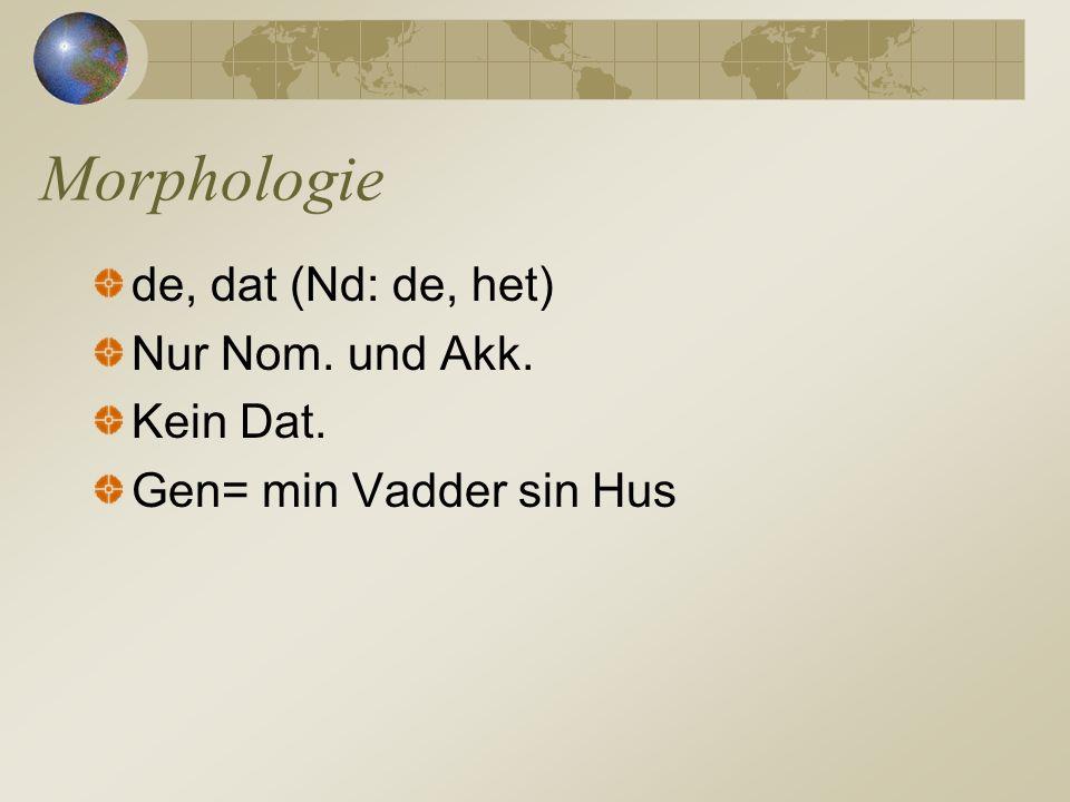 Morphologie de, dat (Nd: de, het) Nur Nom. und Akk. Kein Dat.