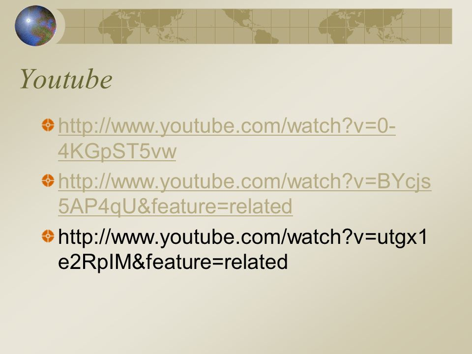 Youtube http://www.youtube.com/watch v=0-4KGpST5vw