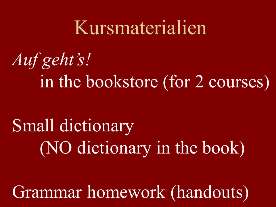 Kursmaterialien Auf geht's! in the bookstore (for 2 courses)