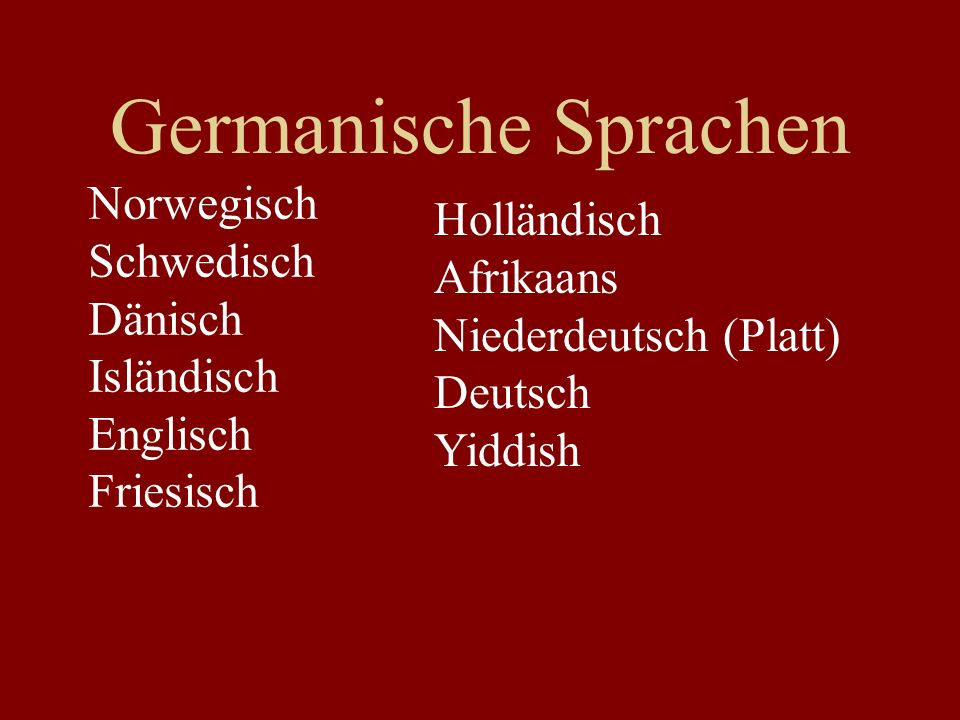 Germanische Sprachen Norwegisch Holländisch Schwedisch Afrikaans