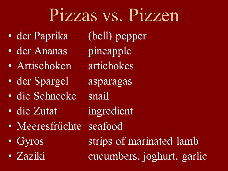 Pizzas vs. Pizzen der Paprika (bell) pepper der Ananas pineapple