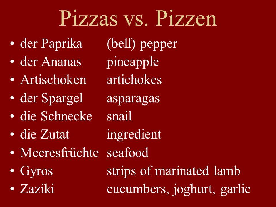 Pizzas vs. Pizzen der Paprika (bell) pepper der Ananas pineapple