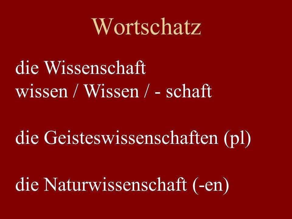 Wortschatz die Wissenschaft wissen / Wissen / - schaft
