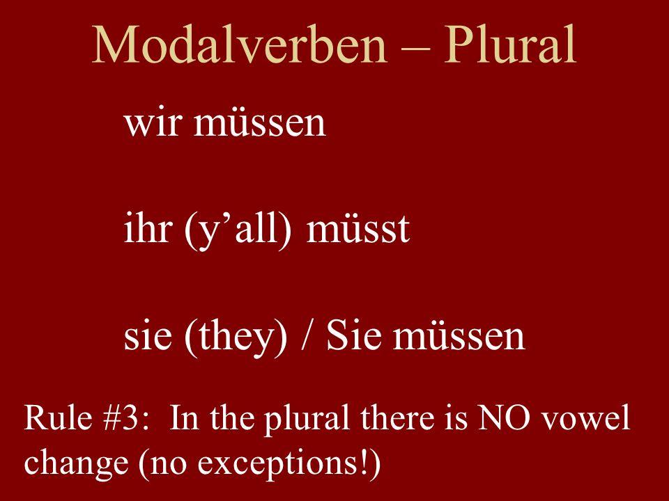 Modalverben – Plural wir müssen ihr (y'all) müsst