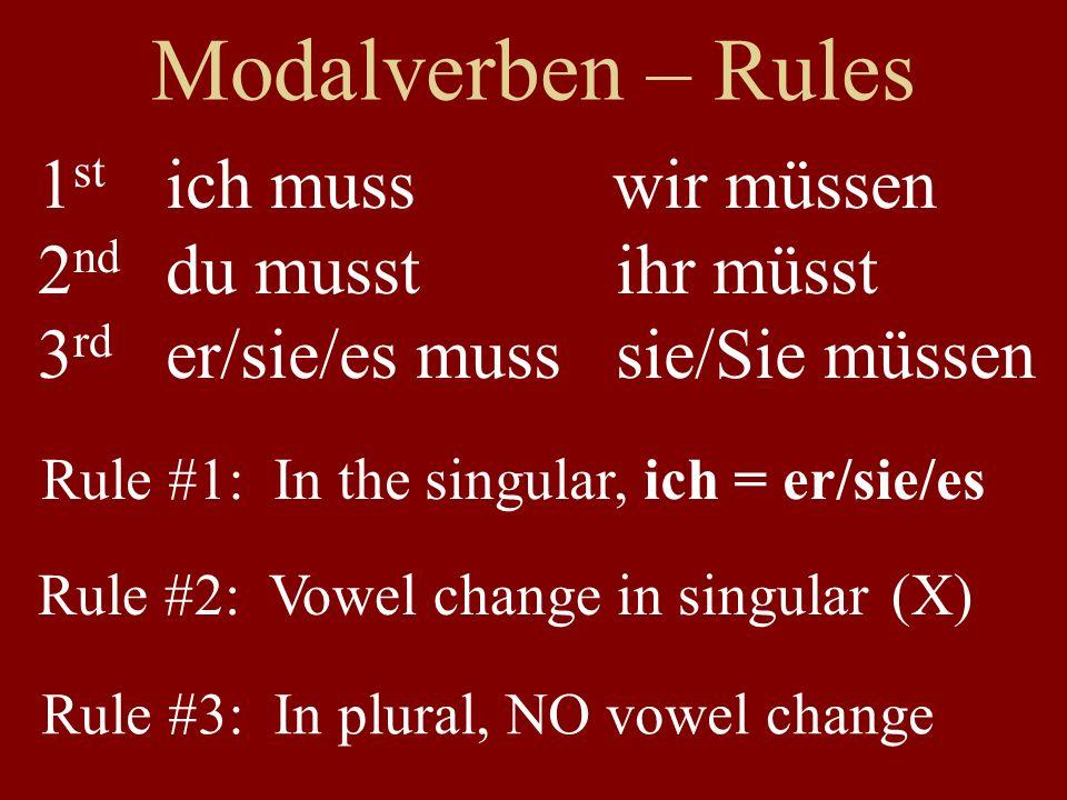 Modalverben – Rules 1st 2nd 3rd ich muss wir müssen du musst ihr müsst