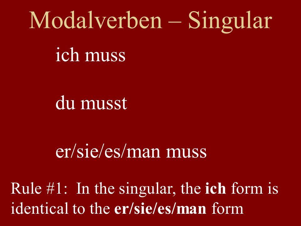 Modalverben – Singular