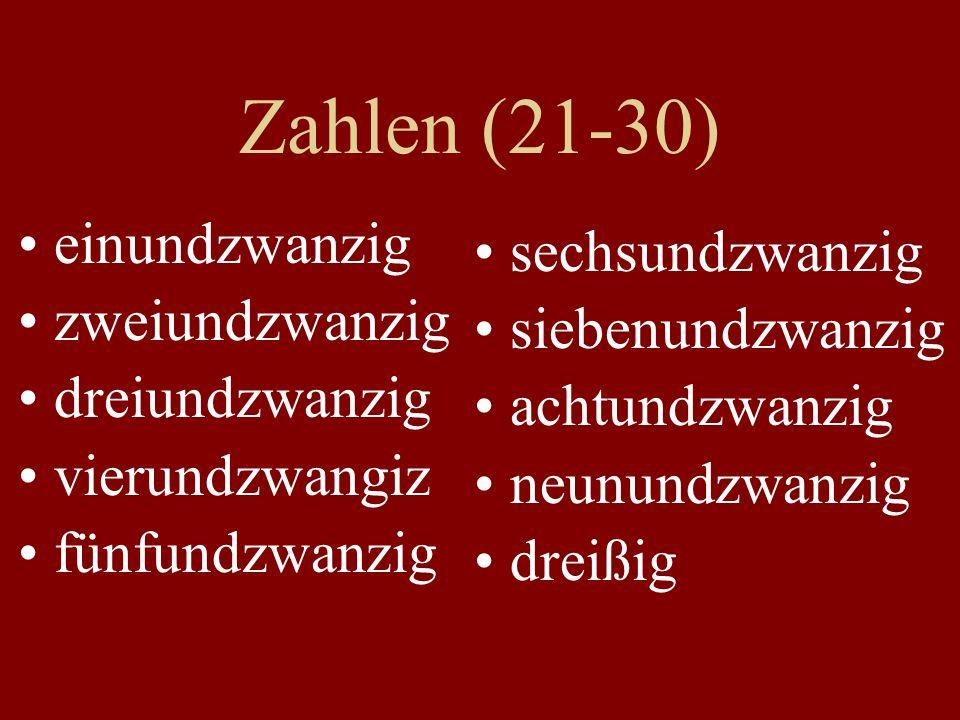 Zahlen (21-30) einundzwanzig sechsundzwanzig zweiundzwanzig
