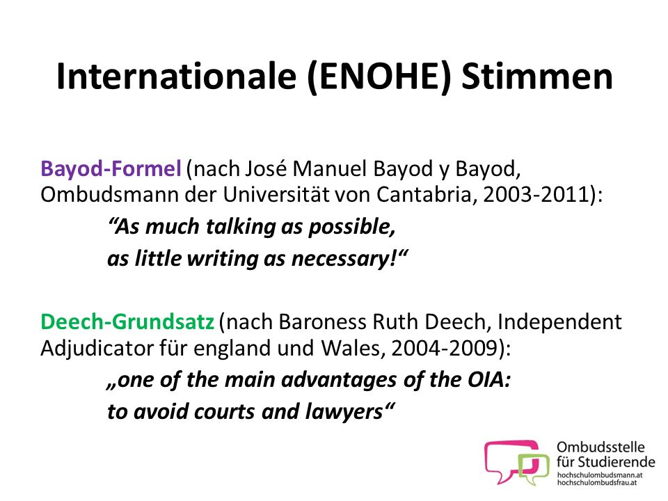 Internationale (ENOHE) Stimmen