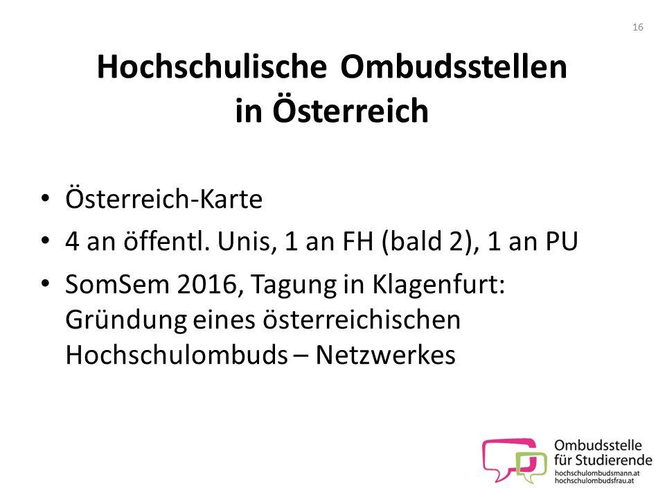 Hochschulische Ombudsstellen in Österreich