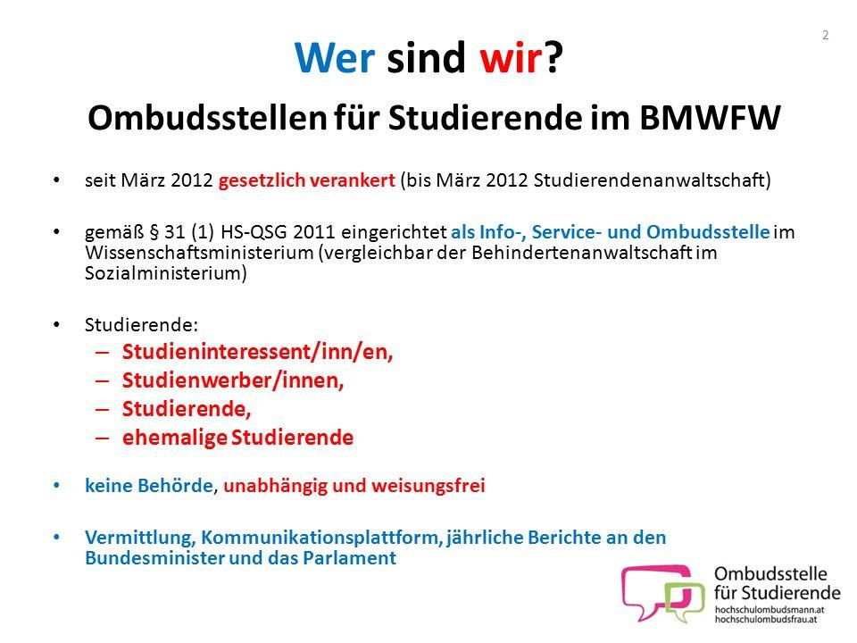 Wer sind wir Ombudsstellen für Studierende im BMWFW