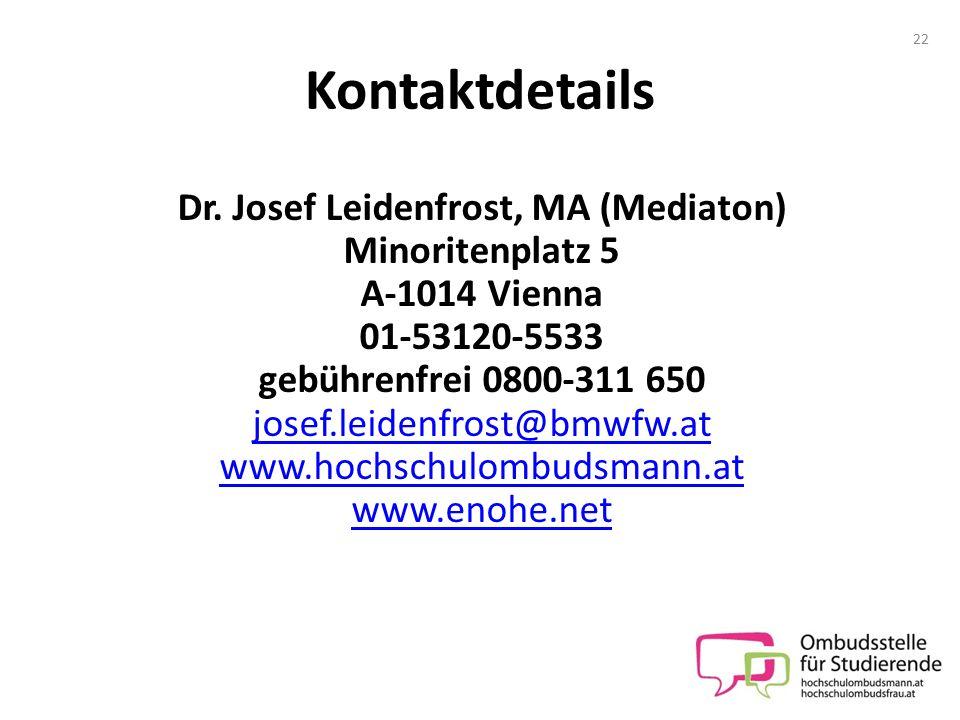 Dr. Josef Leidenfrost, MA (Mediaton)