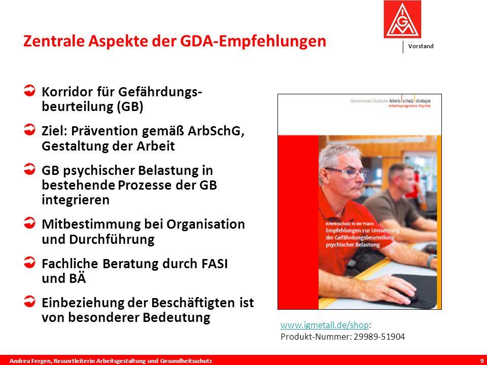 Zentrale Aspekte der GDA-Empfehlungen