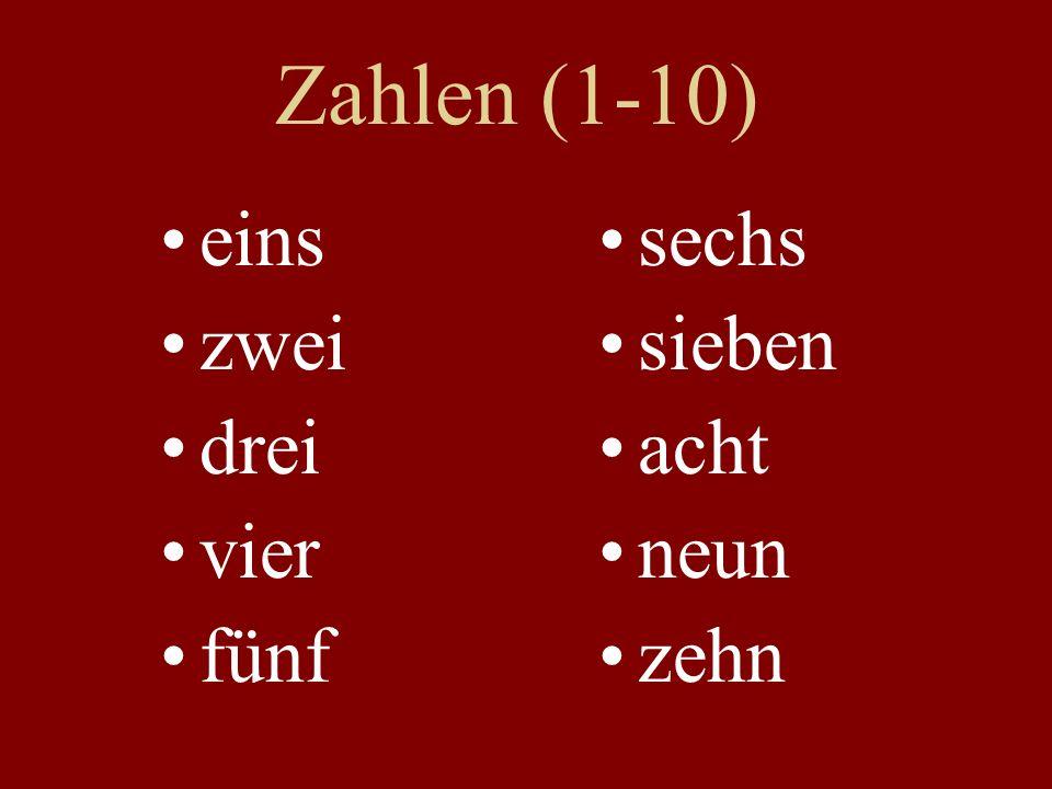 Zahlen (1-10) eins zwei drei vier fünf sechs sieben acht neun zehn