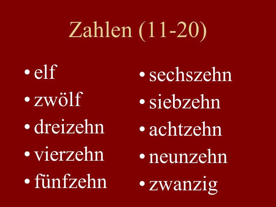 Zahlen (11-20) elf sechszehn zwölf siebzehn dreizehn achtzehn vierzehn