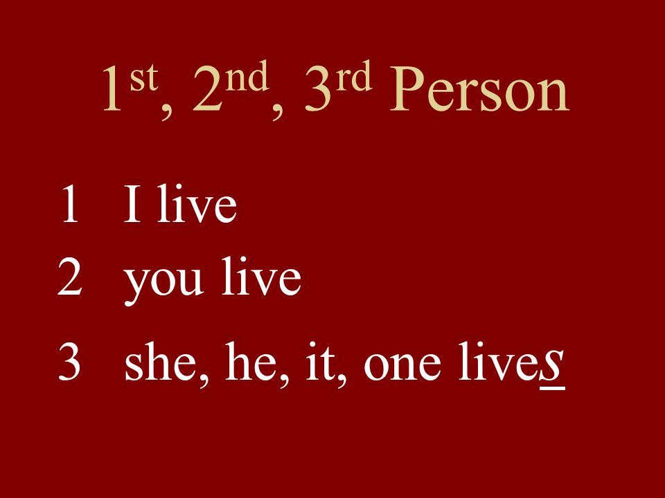 1st, 2nd, 3rd Person 1 I live 2 you live 3 she, he, it, one lives