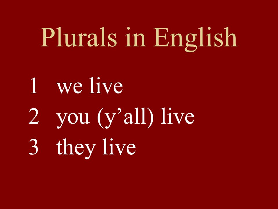 Plurals in English 1 we live 2 you (y'all) live 3 they live