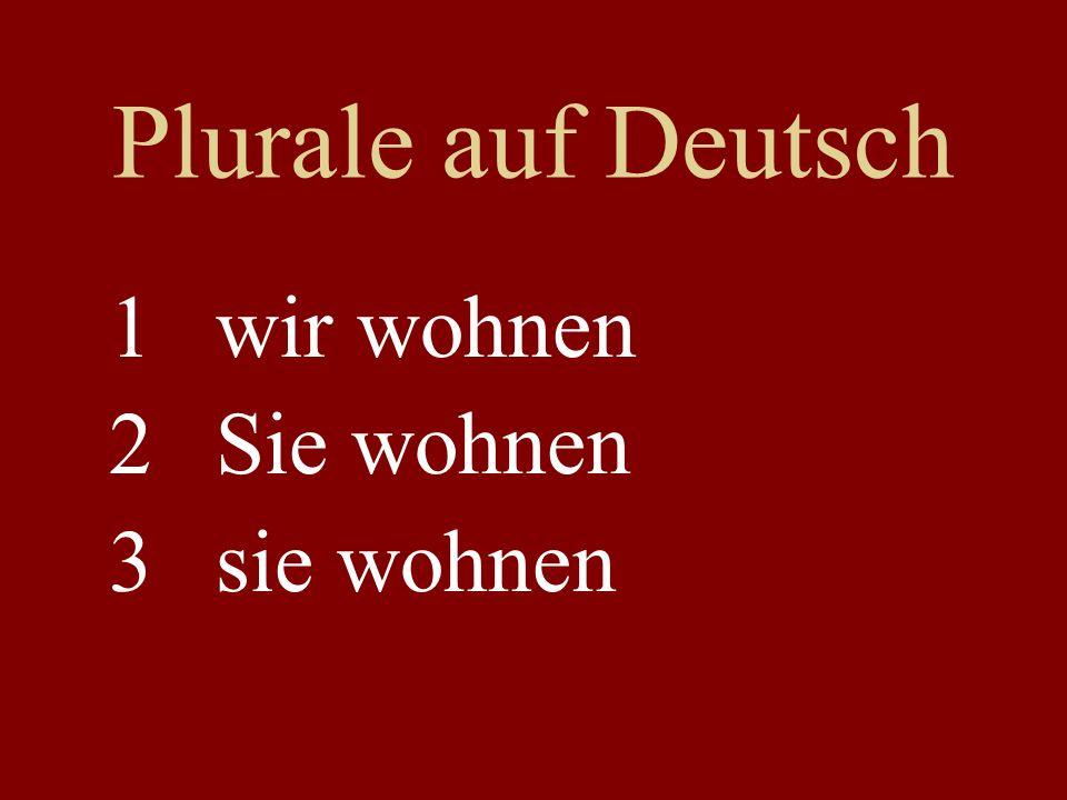 Plurale auf Deutsch wir wohnen Sie wohnen sie wohnen