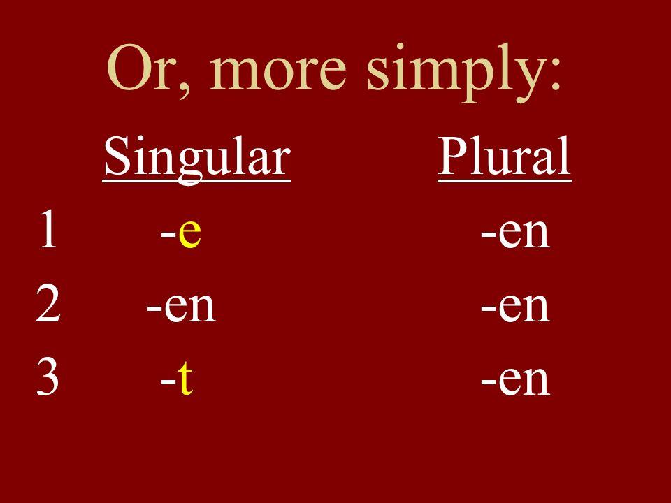 Or, more simply: Singular Plural -e -en -en -en -t -en