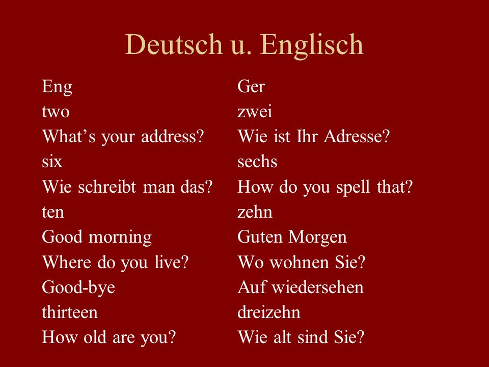 Deutsch u. Englisch Eng Ger two zwei