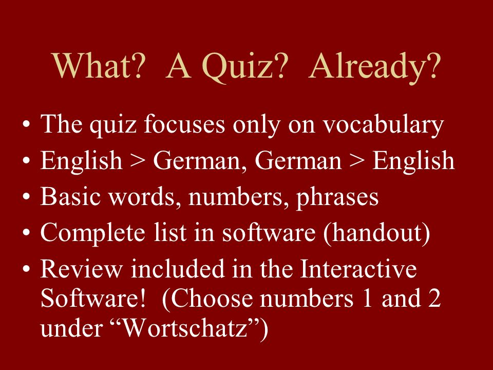 What A Quiz Already The quiz focuses only on vocabulary