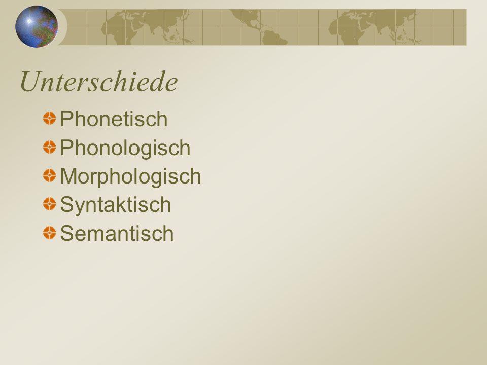 Unterschiede Phonetisch Phonologisch Morphologisch Syntaktisch