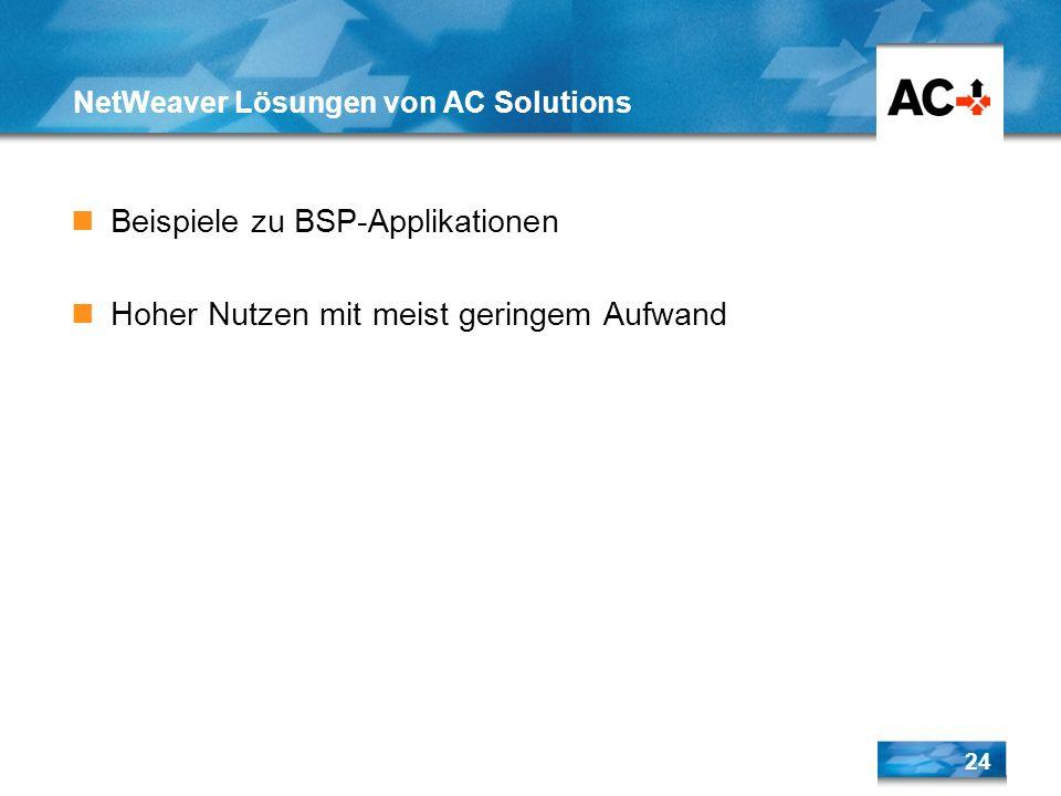 NetWeaver Lösungen von AC Solutions