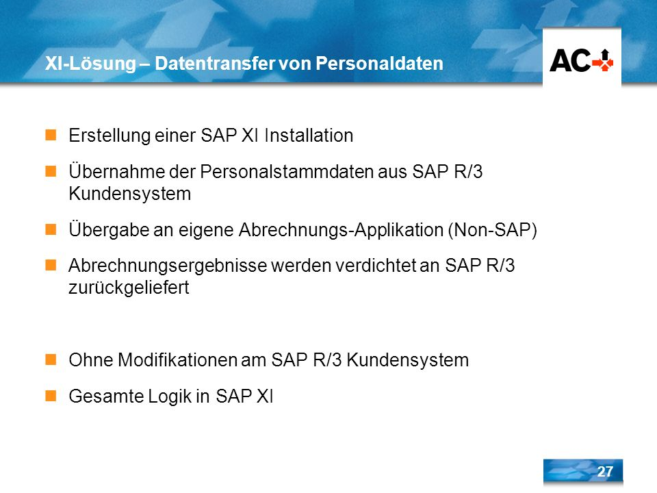 XI-Lösung – Datentransfer von Personaldaten
