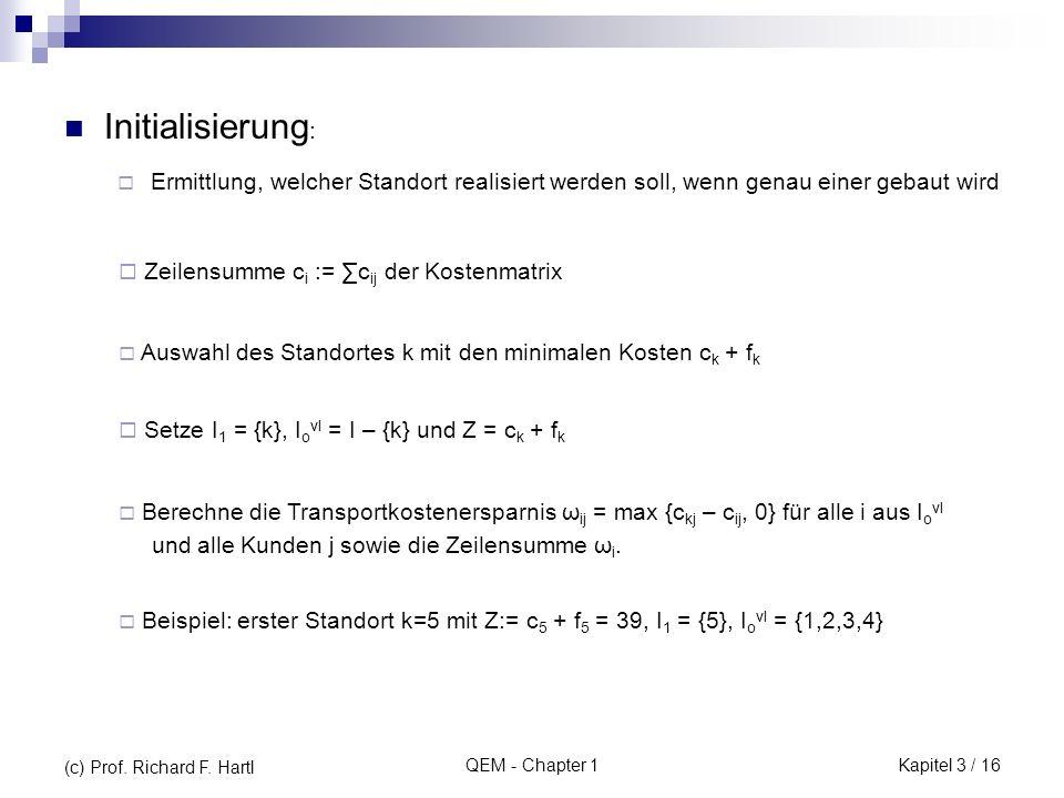 Initialisierung: Zeilensumme ci := ∑cij der Kostenmatrix