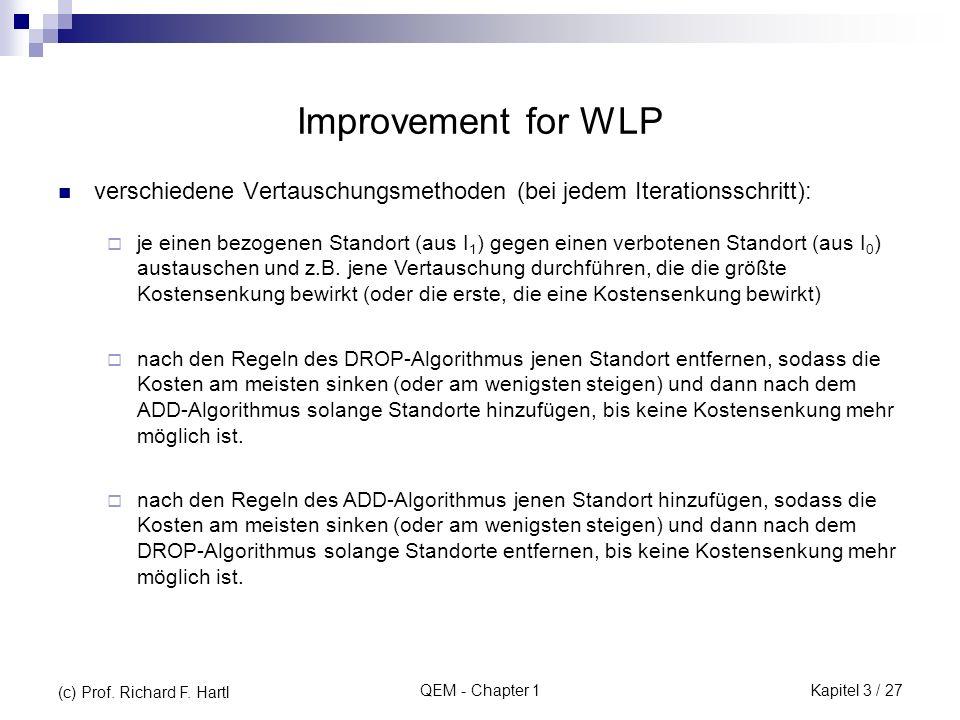 Improvement for WLP verschiedene Vertauschungsmethoden (bei jedem Iterationsschritt):