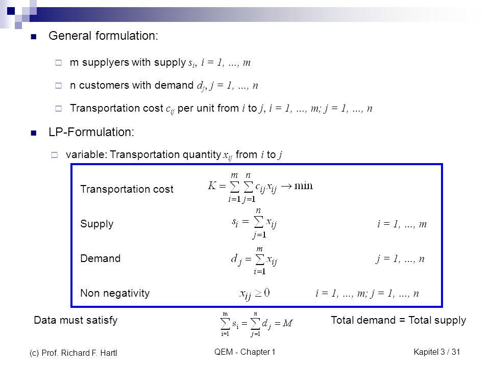 General formulation: LP-Formulation: