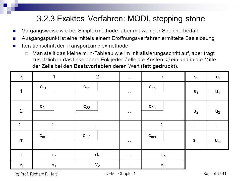 3.2.3 Exaktes Verfahren: MODI, stepping stone