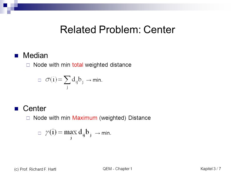 Related Problem: Center