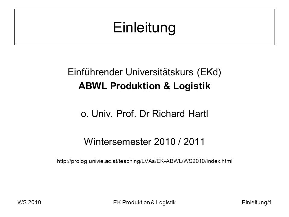 Einleitung Einführender Universitätskurs (EKd)