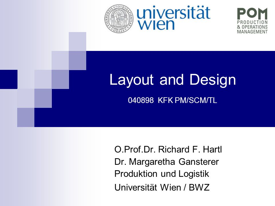 Layout and Design 040898 KFK PM/SCM/TL