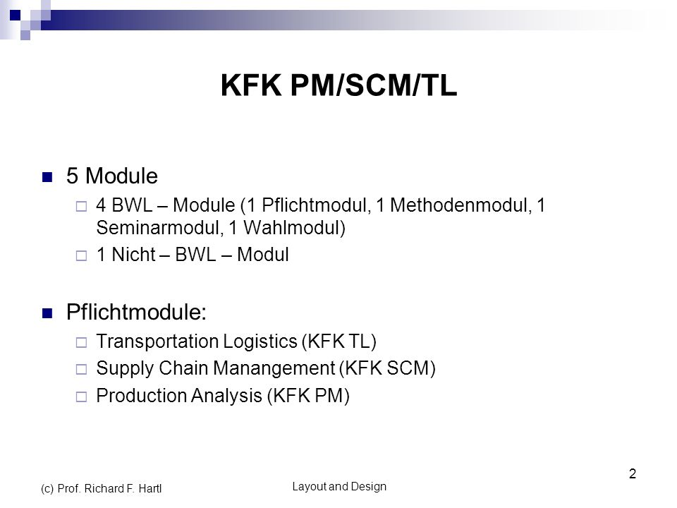 KFK PM/SCM/TL 5 Module Pflichtmodule: